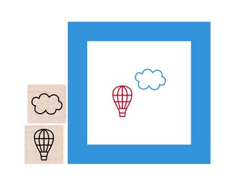 Mini Hot Air Balloon and Cloud Rubber Stamp set