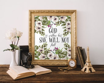 """PRINTABLE Art """"God Is Within Her She Will Not Fall"""" Typography Art Print Bible Verse Print Scripture Art Print Christian Art Print"""
