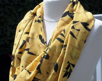 Snood scarf neck scarf woman black and yellow