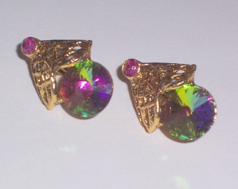 Vintage Earrings with Aurora Borealis Glass Beads- Clip Ons