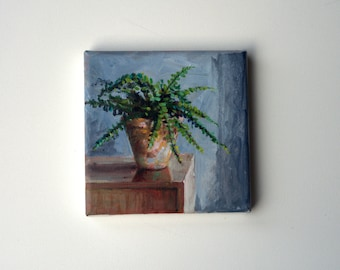 original acrylic painting, plant painting, small painting, botanical art, 6x6 painting, acrylics on canvas, small wall art