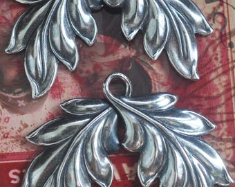 TWO Looped leaves, Brass Stampings, Charms, Metal Leaves, Metal Flowers, Sterling Silver Finish