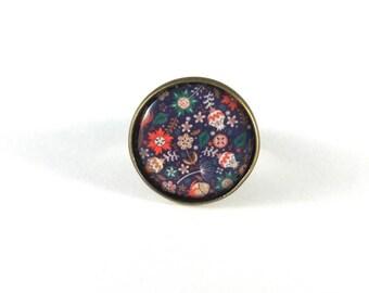 Floral Adjustable ring, spring retro vintage