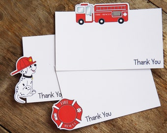 Fire Truck Party - Set of 8 Fire House Thank You Notecards by The Birthday House