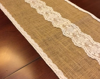 BURLAP AND LACE Table Runner,Burlap,Lace,Table Linen,Table Runner,Dining Room Table Runner,Buffet Linen Runner,Mantle Runner,Wedding,Burlap