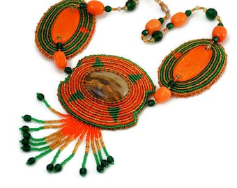 Bead embroidery - statement necklace - beaded jewellry - bead necklace - bead embroidery necklace - necklace with beads - green orange gold