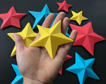 Paper STARS_set 5/Paper star pattern/PDF svg paper star/diy paper star/Paper star download Cameo CriCut/3D paper star/how to make paper star