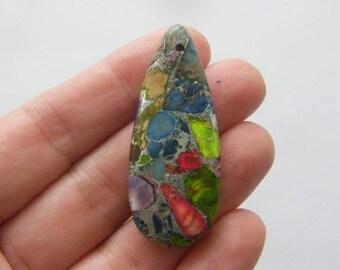 1  Stone pendant synthetic silver line regalite mulitcolour FM53