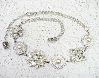 OOAK Vintage Repurposed Earring Necklace - silver tone metal - Faux pearl -Vintage RHINESTONE-Bridal necklace - Bridesmaid gift - Adjustable