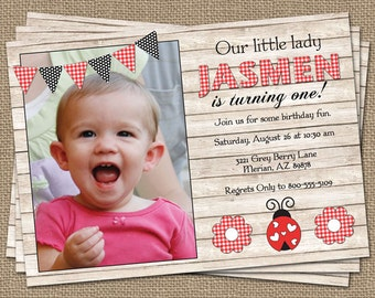 Lady Bug birthday invitation with picture, printable, digital file