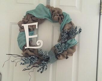 Classic Burlap Wreath - Blue