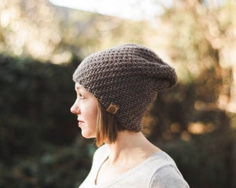 Voyager Slouchy Beanie--Brown