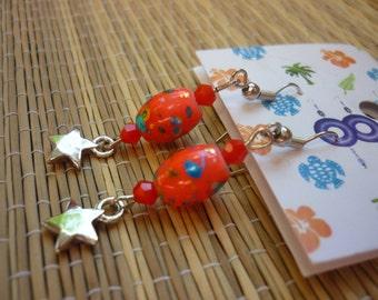 Free shipping - Orange and dangle earrings metal star