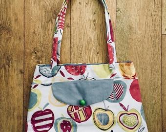 Handmade Large Tote bag, fruit fabric, Shopping Bag, Shoulder straps, Internal pocket.