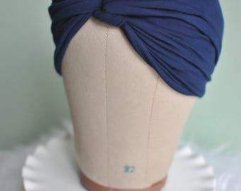 Navy Blue Twisted Knot Turban Headband