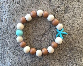 Children's Starfish & Wood Bead Mala Bracelet, Yoga Bracelet, Kids Mala, Children's Yoga Bracelet Jewelry, Meditation, Mini Mala, Bohemian