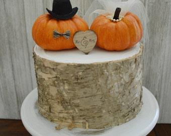 Pumpkin wedding cake topper fall weddings miniature pumpkin cake topper bride and groom Autumn Thanksgiving Mr and Mrs sign barn wedding