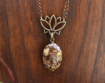 Ocean Jasper Lotus necklace