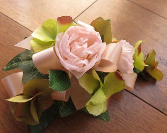 Peach Rose and Green Hydrangea Corsage, Wedding, Prom, Anniversary.