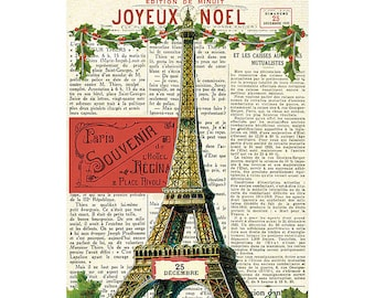 Joyeux Noel Eiffel Tower Paris Holiday Card by Cavallini to Mail or for Framing, Collage, Scrapbooking, Paper Arts and MORE PSS 2721