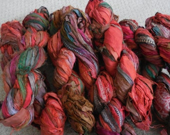 50 Yards,  Sari Silk Ribbon Skein, Vegetable Soup,  Fair Trade from India