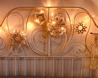 Macrame Snowflakes, Macrame Winter Ornaments, Set of 5