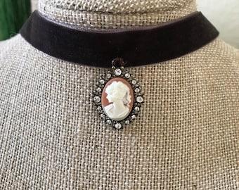 "1"" Dark Brown velvet choker with victorian cameo pendant"