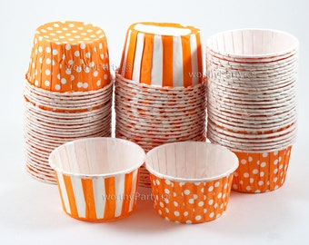 ORANGE Polka Dots/ Stripes Candy Nut Portion Cups- Greaseproof Cupcake/Muffin Baking Cups (24 Count)