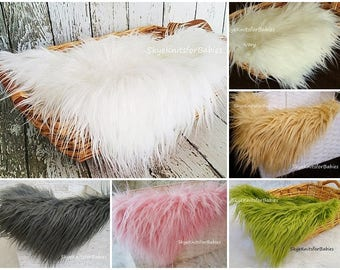 Faux Fur Fabric, Long Pile Faux Fur, Newborn Photo Prop, Mongolian Fur, Faux Fur Prop, Photography Backdrops, Basket Filler, Craft Fur