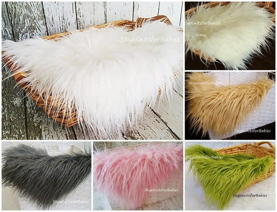 Faux fur fabric long pile newborn photo prop