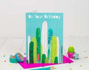 Cactus Birthday Card -  Birthday Card - Card for Daughter - Sister Birthday - Card For her - Card for Friend - Succulent Card - Cacti Card
