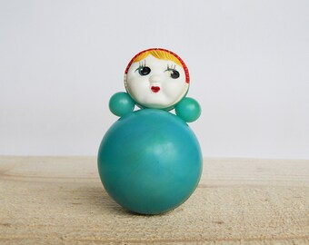 Soviet Roly-poly Vintage Soviet Nevalyashka Doll Blue Doll Roly-Poly Girl 70's plastic doll Old Russian Toy