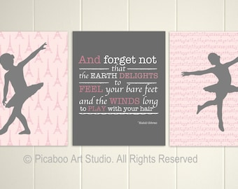 Baby girl nursery, pink grey, french nursery decor, ballerina, nursery inspirational quotes, Set of 3, 8x10 prints
