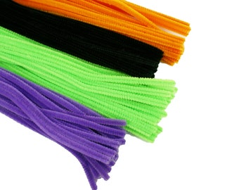 HALLOWEEN Set of 100 PLAIN Chenille Pipe Cleaners for Kids Crafts