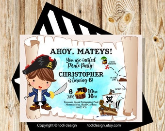 Birthday party invitation - Pirate  Birthday Party Invitation - Printable digital file