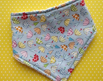 Cotton or Bamboo bandana dribble bib - (choose backing fabric) - dribble umbrellas