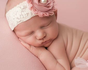Antique Pink Headband, Antique Pink Baby Headbands, Newborn Headbands, Baby Girl Headbands, Photo Prop