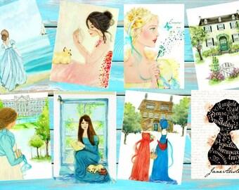 Jane Austen's Ladies  Collection 4X5 set of 8 postcard size.
