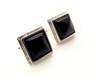Ebony Splendor Black Onyx Cufflinks - Men's Black Cufflinks – Black Square Cufflinks - Onyx Cufflinks