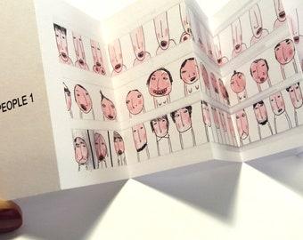 Art zine, Weird mini zine concertina book, gray mini book printable, mini zine folding paper book one paper 8 page booklet folded paper book