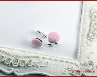 Powder Pink fabric - man cufflinks