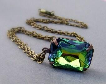 Jahrgang Achteck Vitrail grün und blau Glas Juwel, einfache Halskette, Rechteck Juwel, seltenen Vintage-Schmuckstück
