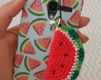 Juicy Red Watermelon-Amigurumi Cell Phone Charm With Bell