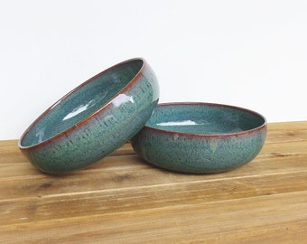 Ceramic Pasta Bowls in Sea Mist Glaze - Stoneware Pottery Bowls, Rustic Kitchen, Ceramic Pottery, Teal Blue Green Bowls, Set of 2