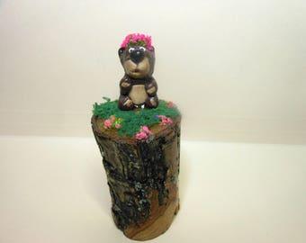 Bear on a log...-OOAK-Polymer Clay Bear-Little Girl Bear