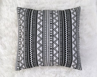 """Black and White Striped Jacquard Pillow Cover 