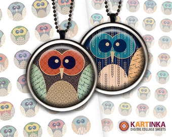 1 inch (25mm), 1.25 inch & 1.5 inch Printable OWLS Digital Circles Download Images for Resin Pendants Bottle Caps Round bezel cabs Cabochon