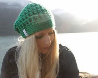 Handmade Green Slouchy Beanie / Kelley Green Beanie / Green Slouchy Beanie / Crochet Beanie / St. Patrick's Day Accessories / SISU / Green