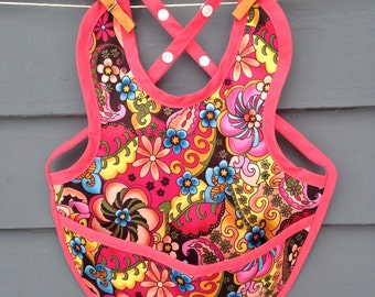 Waterproof PUL baby bib, adjustable, tropical flower print with snaps and pocket
