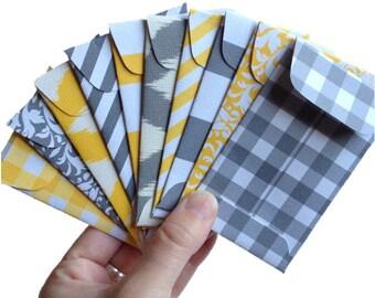 Set of 10 // Gift Card Holders // Mini Envelopes  // Gift Card Envelopes // Gift Envelopes // Gray & Yellow Envelopes // Pocket Letter